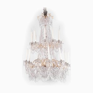Large Antique Napoleon III Silvered Bronze and Crystal Chandelier