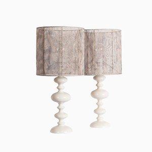Lámparas de mesa de madera torneada lacadas en blanco, años 60. Juego de 2