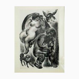 Ilustración Two sleeper, Bird, and Dog a lápiz de Anatoli Slepyschew Stepanowitsch, 1976