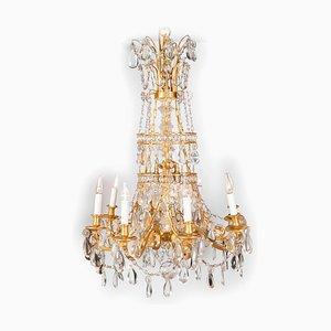 Lámpara de araña estilo Luis XVI antigua de bronce dorado y cristal, década de 1900
