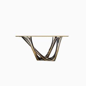 Consola Mono de acero inoxidable cepillado con tablero de hormigón de Zieta