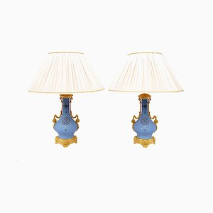 Antique Blue Porcelain and Gilt Bronze Table Lamps, Set of 2