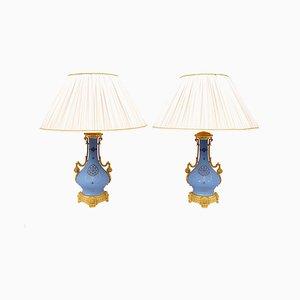 Lámparas de mesa antiguas de porcelana azul y bronce dorado. Juego de 2