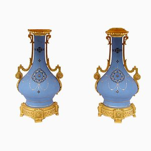 Antique Blue Porcelain and Gilt Bronze Table Lamps, Set of 2
