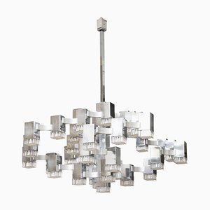 Chrome Cubic Chandelier by Gaetano Sciolari, 1970s
