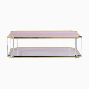 Glass, Brass, and Lucite Coffee Table, 1970s