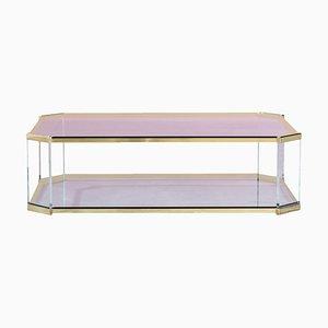 Mesa de centro de vidrio, latón y lucite, años 70