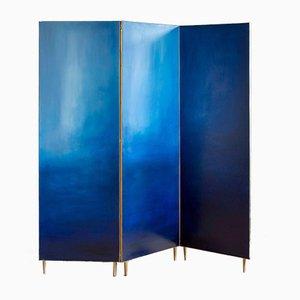 Biombo azul pintado a mano de Jan Garncarek