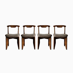 Oak Dining Chairs by Guillerme et Chambron for Votre Maison, 1960s, Set of 4