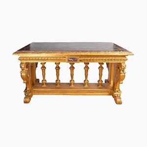 19th Century Renaissance Style Giltwood and Marble Console Table