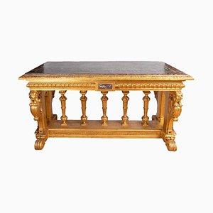Consola estilo renacentista de madera dorada y mármol, siglo XIX