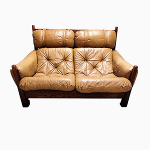 Sofá de cuero de 2 plazas de Jean Gillon, años 60