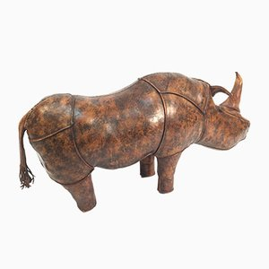 Large Vintage Leather Rhino by Dimitri Omersa for Liberty