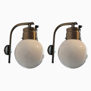 Steel and Opaline Glass Sconces, 1960s, Set of 2
