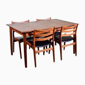 Juego de mesa de comedor y sillas de teca, años 60