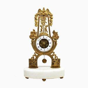Horloge Empire Pendule Ancienne en Bronze Doré et Marbre