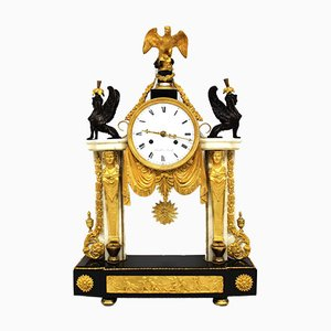 Antique Louis XVI Gilt Bronze and Marble Clock