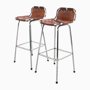 Vintage French Brown Leather Stools by Charlotte Perriand, 1960s, Set of 2