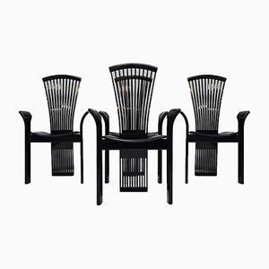 Italian Black Lacquered Dining Chairs by Pietro Costantini, 1980s, Set of 4