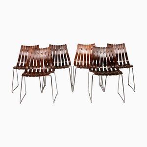 Sillas de comedor noruegas de palisandro y metal cromado de Hans Brattrud para Hove Møbler, años 60. Juego de 6