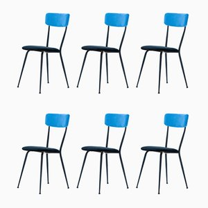 Italian Iron and Velvet Dining Chairs, 1950s, Set of 6