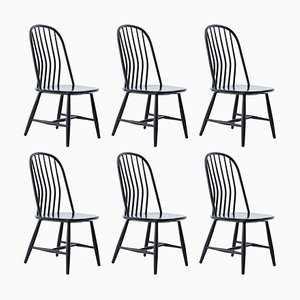Black Wooden Dining Chairs by Bengt Akerblom and Gunnar Eklöf for Akerblom , 1950s, Set of 6