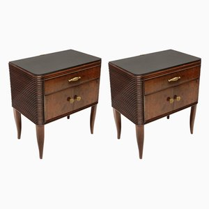 Italian Mahogany, Glass, and Brass Nightstands by Paolo Buffa, 1940s, Set of 2