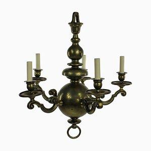 Lámpara de araña holandesa antigua de latón de 5 brazos, década de 1840