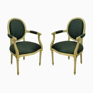 Butacas francesas estilo Luis XV vintage doradas, años 50. Juego de 2
