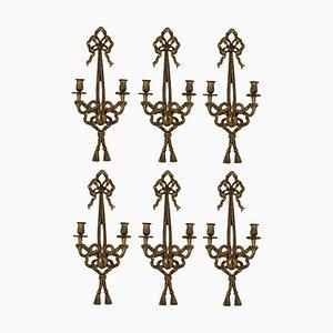 Apliques franceses vintage de madera dorada, años 40. Juego de 6