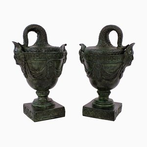 Antique English Bronze Urns, Set of 2