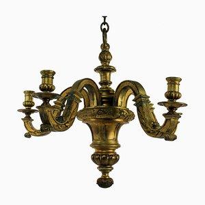 Lámpara de araña inglesa antigua de bronce dorado, década de 1830