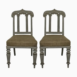 Antique Gothic Style English Side Chairs, 1830s, Set of 2