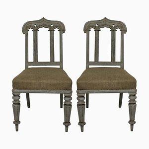 Sillas auxiliares estilo gótico antiguo, década de 1830. Juego de 2