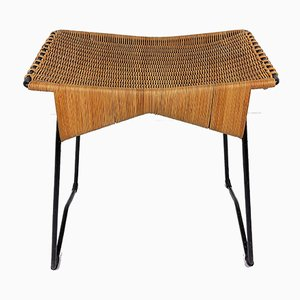 Hocker aus Rattan & Metall, 1950er