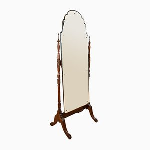 Antiker edwardianischer Standspiegel mit Rahmen aus Mahagoni & Nussholz