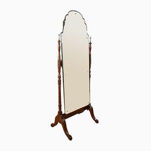 Antique Edwardian Mahogany and Walnut Cheval Mirror