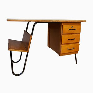 Oak and Tubular Steel Desk by Jacques Hitier for Spirol, 1950s