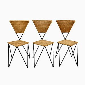 Mid-Century Austrian Wicker Chairs by Karl Fostel Sen's Erben, 1950s, Set of 3