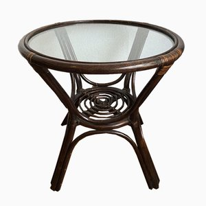 Mid-Century Bamboo and Glass Side Table