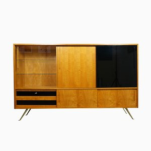 Deutsches Sideboard aus Birke & Messing, 1950er