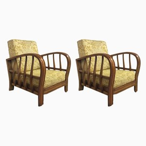 Cherrywood Armchairs, 1940s, Set of 2
