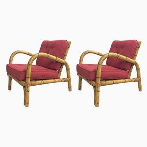 Armlehnstühle aus Bambus, 1970er, 2er Set