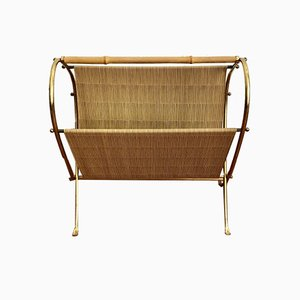 Mid-Century Golden Brass Magazine Rack