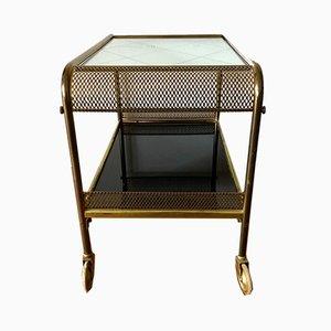Mesa de bar Art Déco de latón dorado, años 30