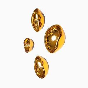 Goldene Aurum Wandleuchte aus Glas von Alex De Witte