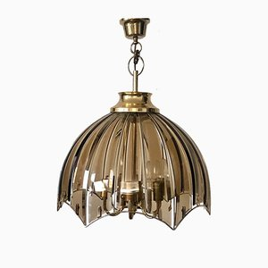 Large Vintage Gold Brass and Glass Ceiling Lamp, 1970s