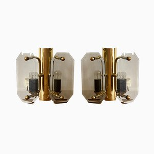 Gold Brass and Glass Sconces, 1960s, Set of 2