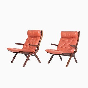 Mid-Century Danish Leather Lounge Chairs, 1960s, Set of 2