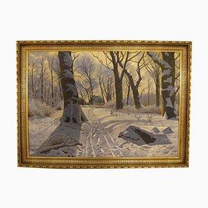Winterlandschaft Ölgemälde von Willer Jørgensen, 1940er